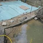 Reinigung des Teichs, neue Einfassung